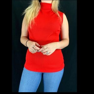 60s/70s Red Sleeveless Turtleneck